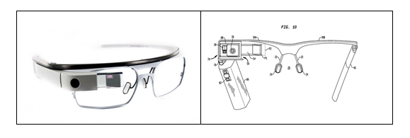 "Figure1 Google Glass patent application: U.S. 20130044042 A1 ""Wearable device with input and output structures"". Source: IFI CLAIMS Patent Services."