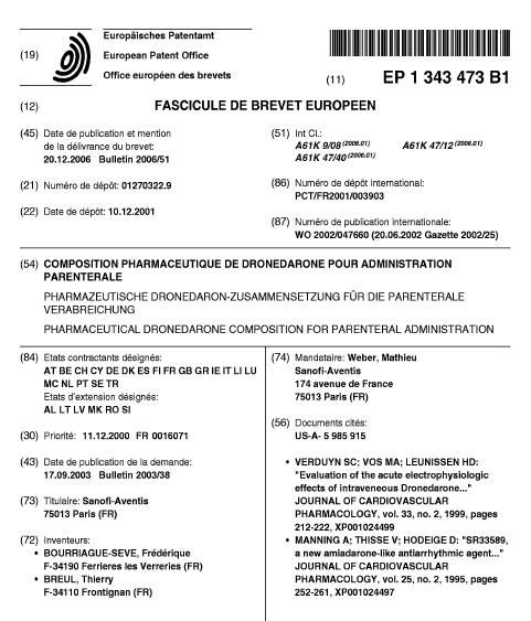 EP-1343473-B1 Front Page showing Designated States