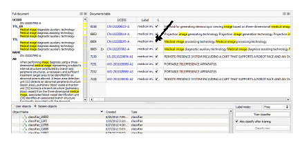 Figure 3: Highlighting and labeling patents with KMX classifier.